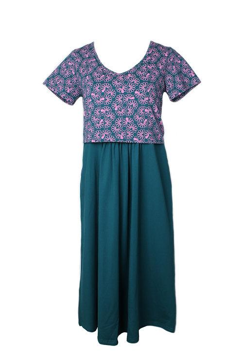 Floral Patterned Print Nursing Skater Dress TURQUOISE (Ladies' Dress)