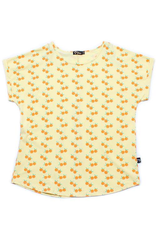 Mandarin Orange Print Blouse YELLOW (Ladies' Top)