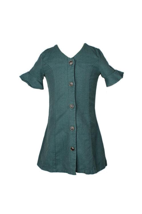 Brushed Cotton Button Down Dress GREEN (Girl's Dress)