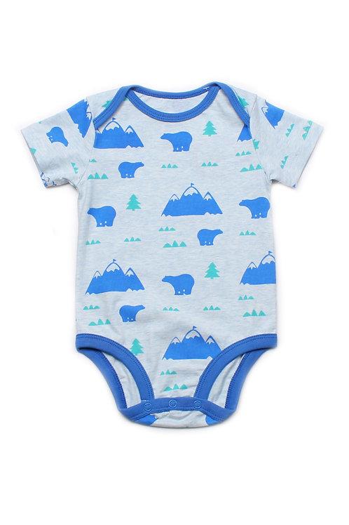 Polar Bear Print Romper BLUE (Baby Romper)