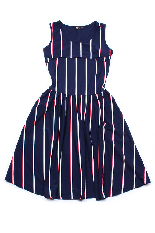 Shadow Stripes Nursing Skater Dress NAVY (Ladies' Dress)