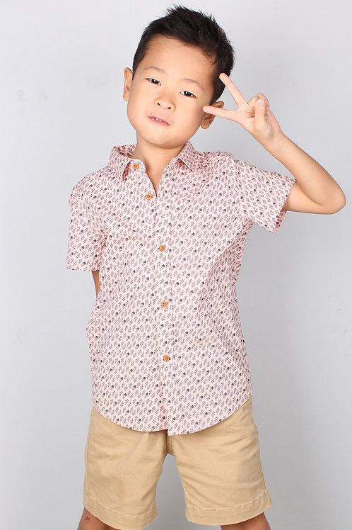 Rose Print Motif Short Sleeve Shirt PINK (Boy's Shirt)