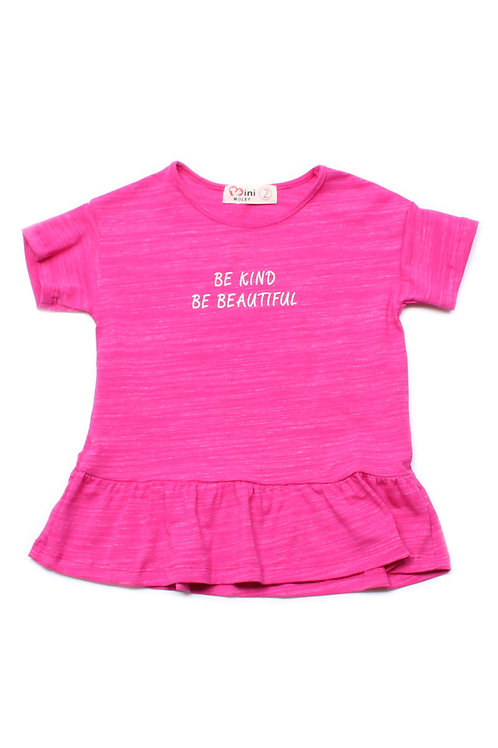 BE KIND BE BEAUTIFUL Frill T-Shirt PINK (Girl's Top)