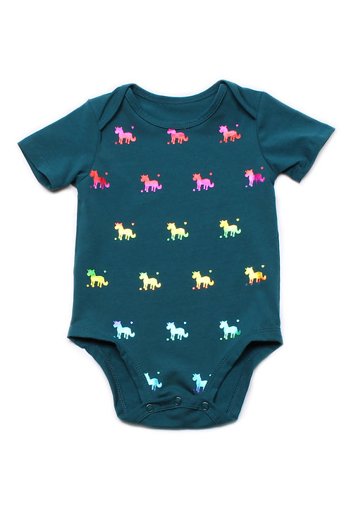 Shiny Psychedelic Unicorns Print Romper TURQUOISE (Baby Romper)