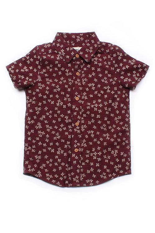 Floral Motif Short Sleeve Shirt RED (Boy's Shirt)
