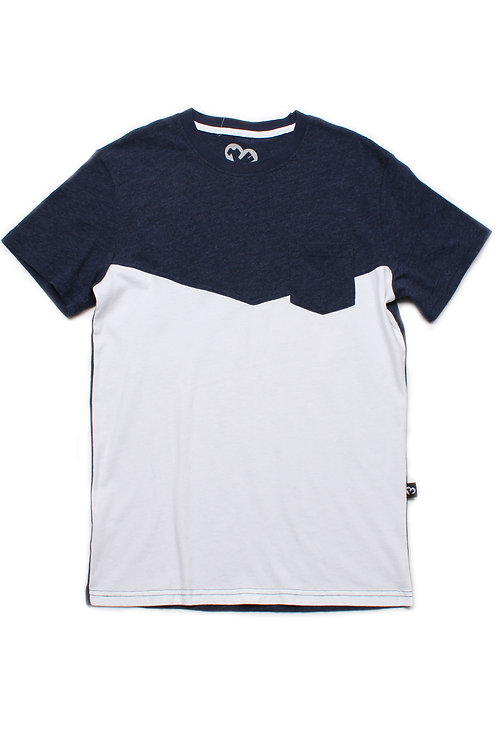 Two-Tone Chevron T-Shirt with Pocket NAVY (Men's T-Shirt)