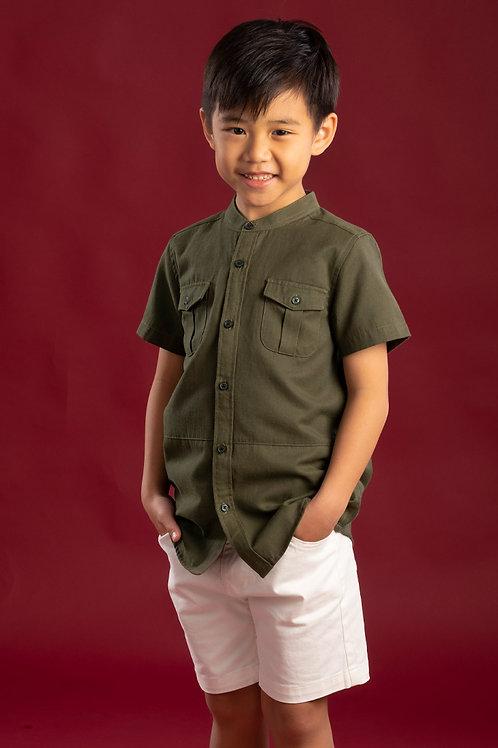 Brushed Cotton Twin Pocket Short Sleeve Shirt GREEN (Boy's Shirt)