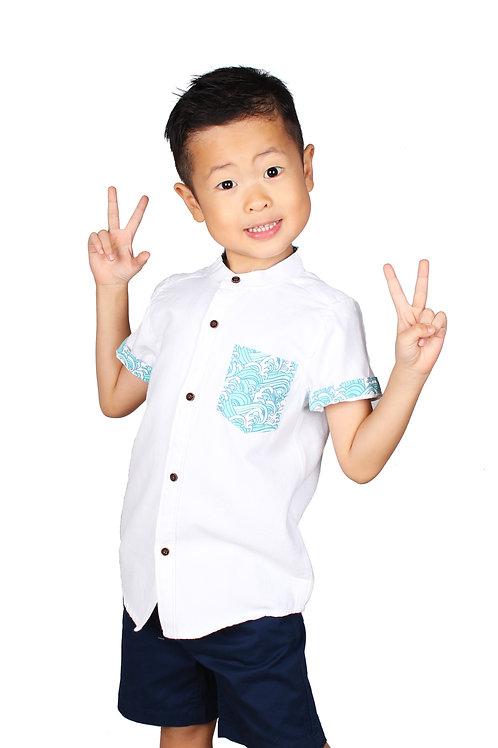 Japanese Wave Pocket Mandarin Collar Short Sleeve Shirt WHITE (Boy's Shirt)
