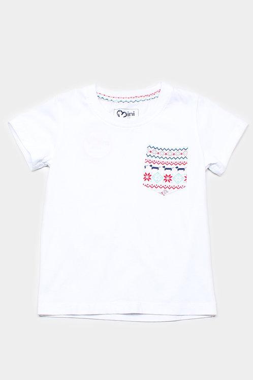 Aztec Daschund Print Pocket T-Shirt WHITE (Boy's T-Shirt)