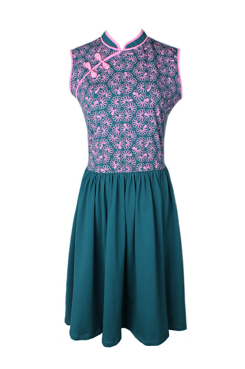 Floral Patterned Print Cheongsam Inspired Dress TURQUOISE (Ladies' Dress)