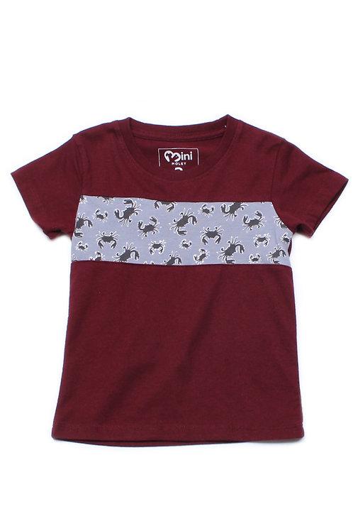Crabs Print Panel T-Shirt MAROON (Boy's T-Shirt)