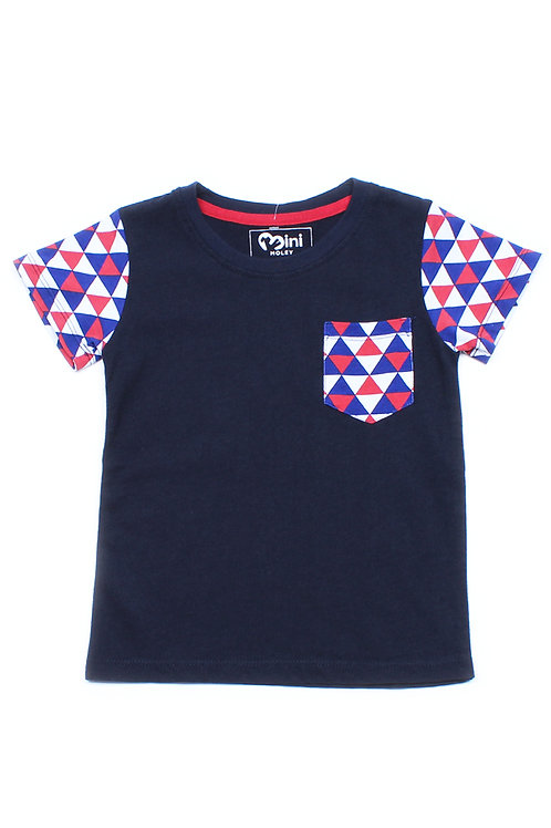 Duotone Geometric Triangle Mosaic Raglan T-Shirt NAVY (Boy's T-Shirt)