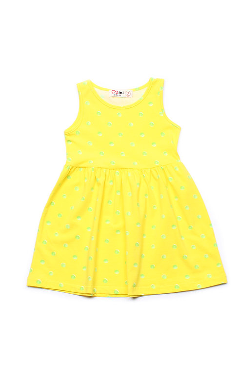 Water Coloured Polka Dot Print Dress YELLOW (Girl's Dress)