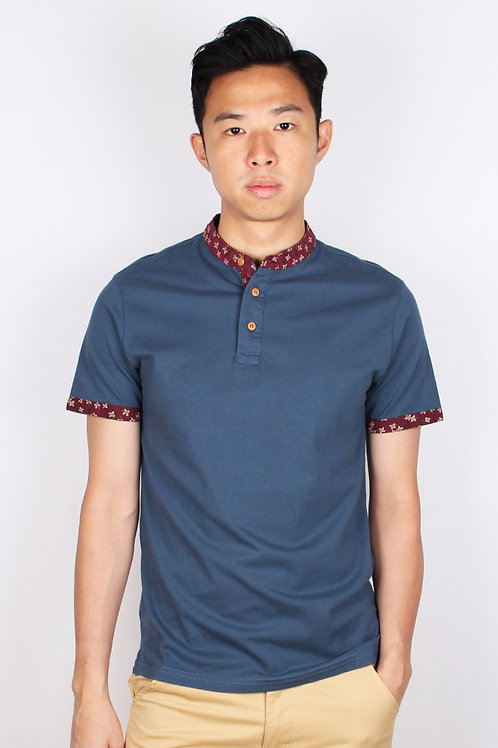Floral Motif Mandarin Collar Polo T-Shirt BLUE (Men's Polo)