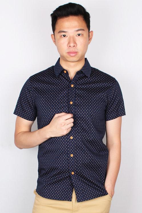 3 Sided Star Motif Design Short Sleeve Shirt NAVY (Men's Shirt)
