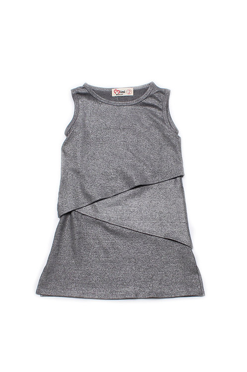 Tiered Layered Dress METALLIC GREY (Girl's Dress)