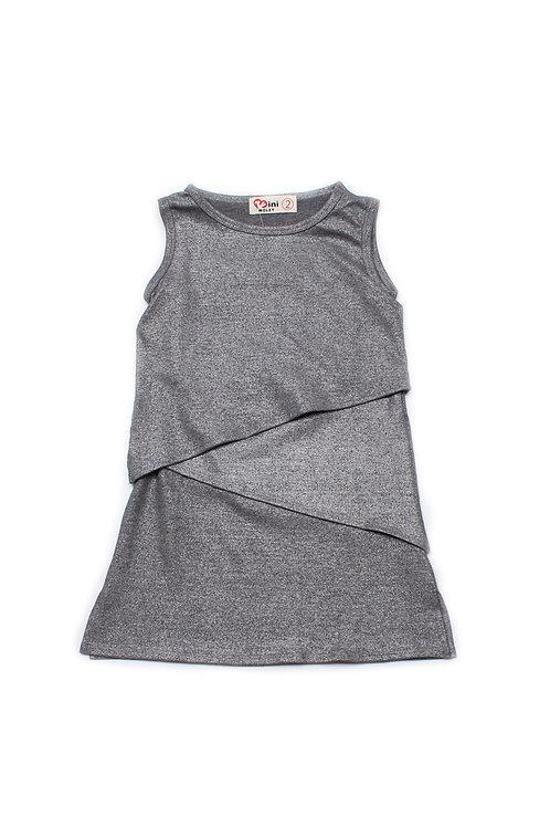 Tiered Layered Dress METALLIC GREY (Girl's Dress)
