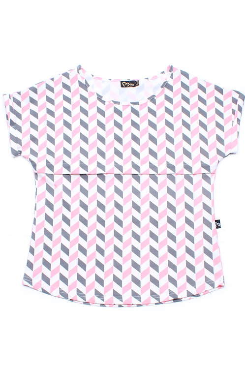 Geometric Chevron Print Nursing Blouse PINK (Ladies' Top)