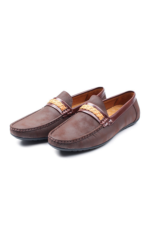 Twine Strap Faux Suede Loafer BROWN (Men's Shoes)