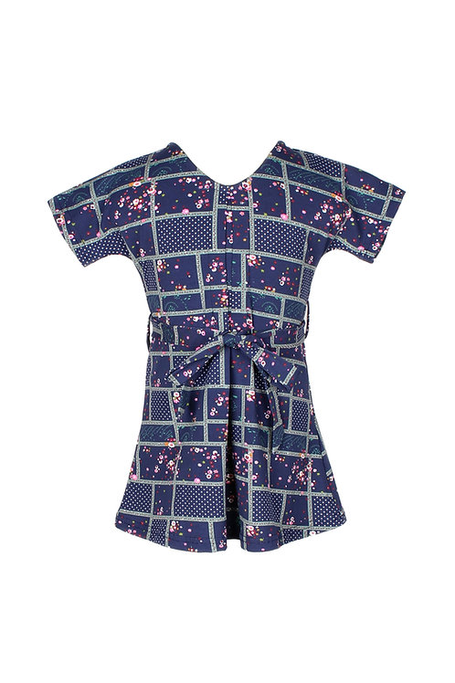 Checkered Floral Design Flare Dress NAVY (Girl's Dress)