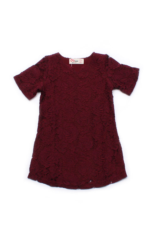 Floral Lace Shift Dress RED (Girl's Dress)