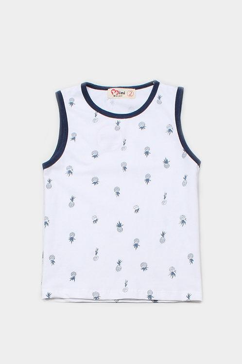 Pineapple Print Singlet WHITE (Boy's Singlet)