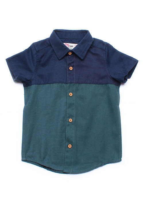 Colour Block Short Sleeve Shirt NAVY (Boy's Shirt)