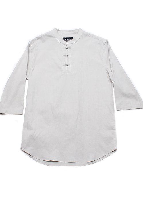 Oriental Style 3/4 Sleeve Shirt CREAM (Men's Shirt)