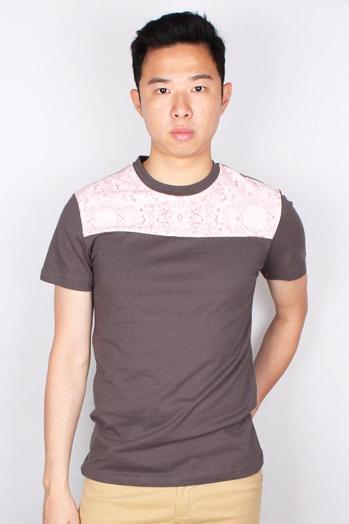 Floral Print Panel T-Shirt DARKGREY (Men's T-Shirt)