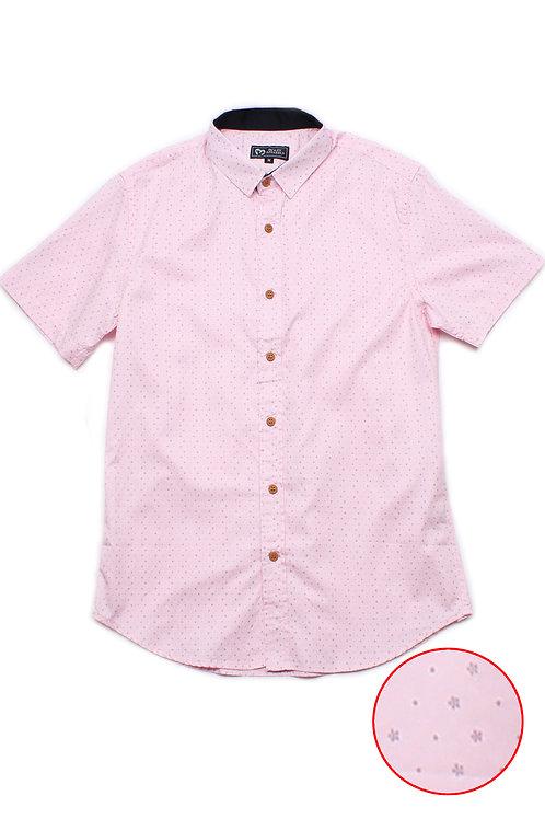 Flower Print Motif Short Sleeve Shirt PINK (Men's Shirt)