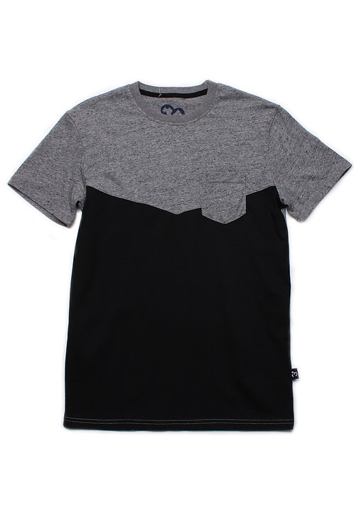 Two-Tone Chevron T-Shirt with Pocket GREY (Men's T-Shirt)