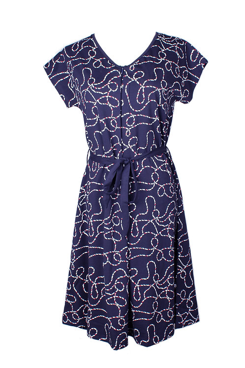 Rope Print Nursing Flare Dress NAVY (Ladies' Dress)