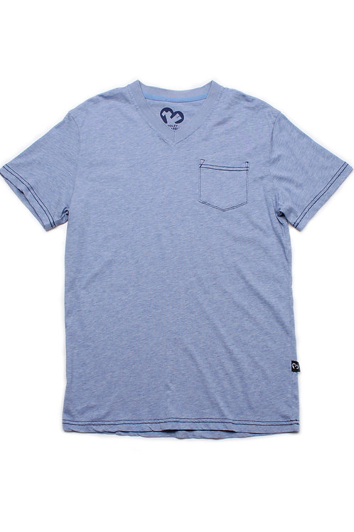 Contrast thread V-neck T-Shirt BLUE (Men's T-Shirt)