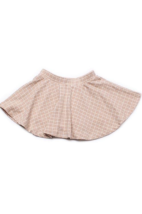Checkered Skirt KHAKI (Girl's Bottom)