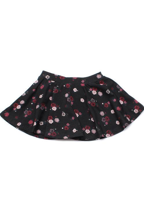 Rose Print Skirt BLACK (Girl's Bottom)