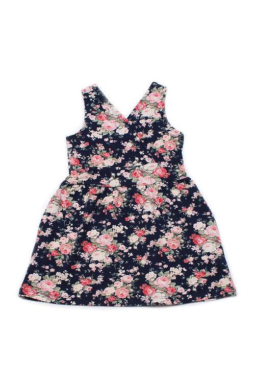 Floral Print Criss Cross Dress NAVY (Girl's Dress)