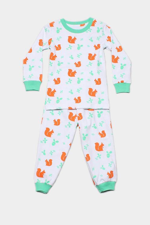 Squirrel Print Pyjamas Set WHITE (Kids' Pyjamas)