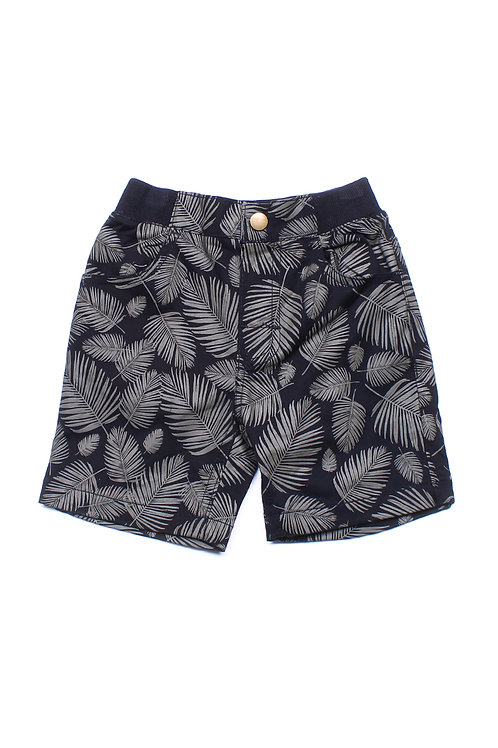 Botanical Print Shorts BLACK (Boy's Shorts)