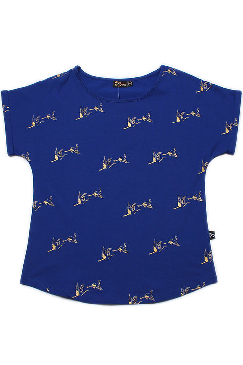 Crane Print Blouse BLUE (Ladies' Top)