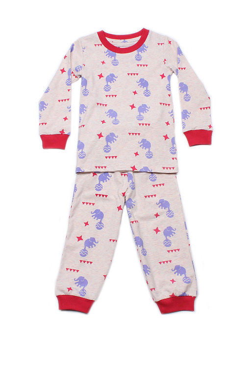 Elephant Print Pyjamas Set HEATHER (Kids' Pyjamas)