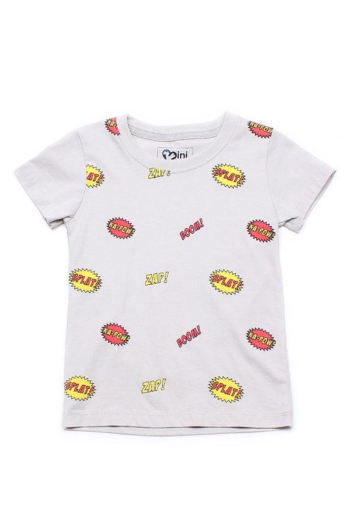 Comic Speech Bubble Print T-Shirt GREY (Boy's T-Shirt)