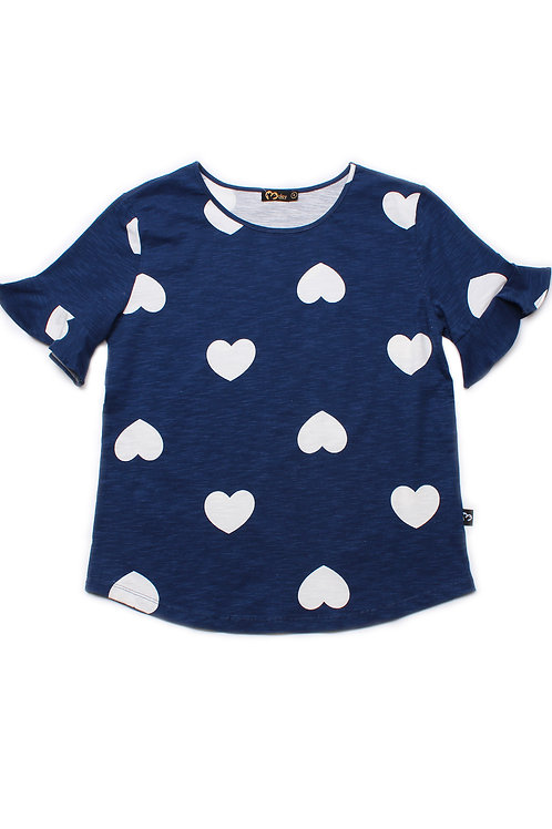Hearts Print Blouse NAVY (Ladies' Top)