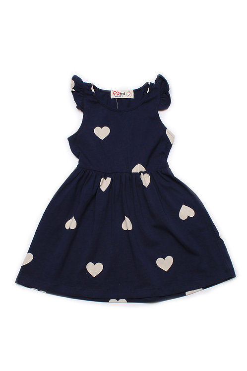 Hearts Print Dress NAVY (Girl's Dress)