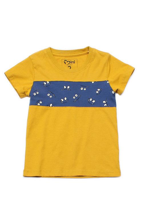 Cartoon Eyes Print Panel T-Shirt YELLOW (Boy's T-Shirt)