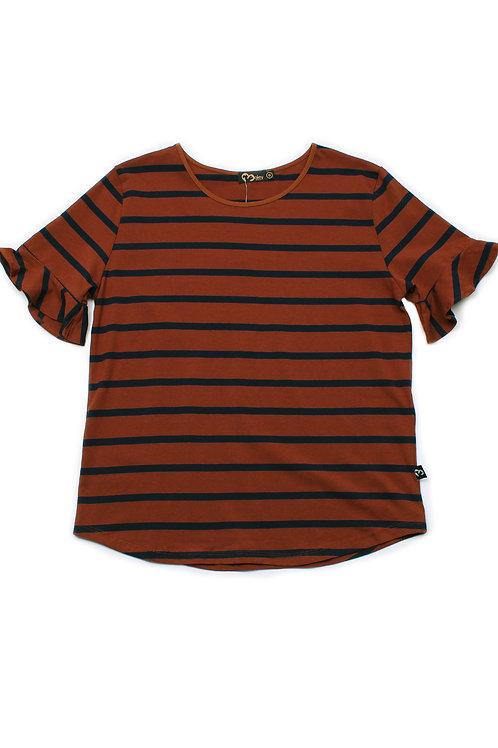 Striped Ruffle Cuffs Blouse BROWN (Ladies' Top)