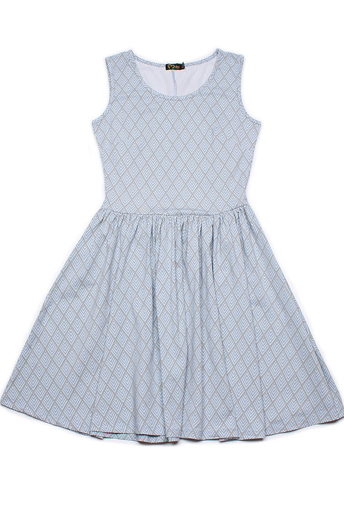 Diamond Chevron Geometric Print Skater Dress BLUE (Ladies' Dress)