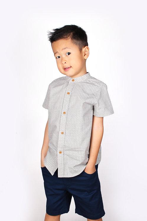 Oriental Motif Print Mandarin Collar Short Sleeve Shirt CREAM (Boy's Shirt)