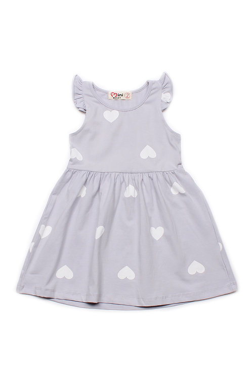 Hearts Print Dress GREY (Girl's Dress)