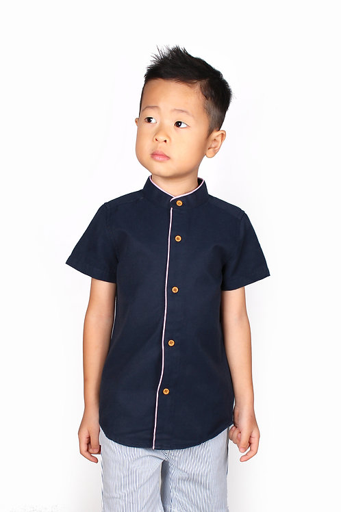 Piped Mandarin Collar Short Sleeve Shirt NAVY (Boy's Shirt)
