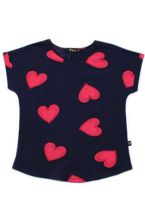Hearts Print Blouse NAVY (Ladies' Top)